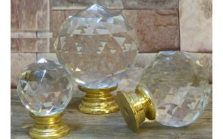 Pushka Knobs 30mm 40mm 50mm Crystal Glass Handle Cabinet Cupboard Brass Base