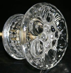Large Clear Glass Cabinet Knob Flower Daisy Handle Pull