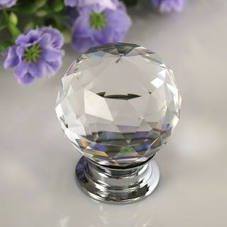 8x 30mm Crystal Glass Door Knobs Drawer Cabinet Kitchen Pull Handle US Stock
