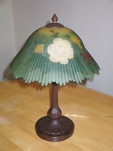 Dale Tiffany Reverse Hand Painted Table Lamp Glynda Turley Roses Glass Shade