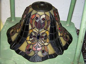 Dale Tiffany Stained Glass Hanging Lamp Shade Butterlfy Pendant 13 5""