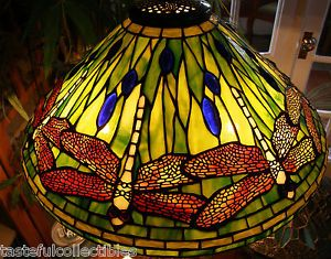 "Dale Tiffany Stained Glass Dragonfly Lamp Shade 20"" Wide"