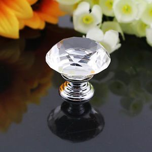 10x Clear Diamond Shape Crystal Glass Cabinet Knob Cupboard Drawer Pulls Handle