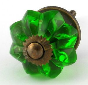 1 LG Green Glass Cabinet Knobs Kitchen Cupboard Drawer Pull Melon Handle 61A B