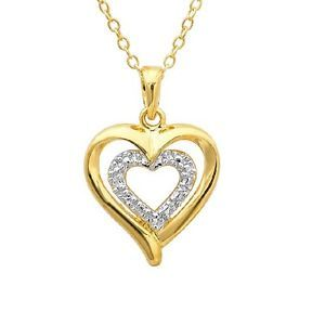 18K Yellow Gold Plated Sterling Silver Diamond Heart Pendant Necklace