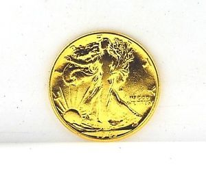 1943 Liberty Walking Half Dollar Gold Plated Silver Coin