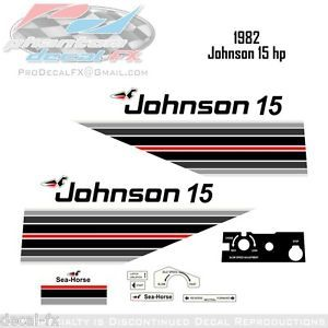 1982 Johnson 15 HP Outboard Reproduction 17 Piece Vinyl Decals Fifteen Horse