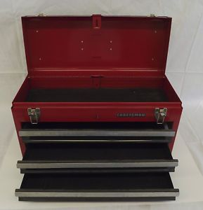 Craftsman USA 3 Drawer Red Metal Portable Tool Box Hand Tools Box