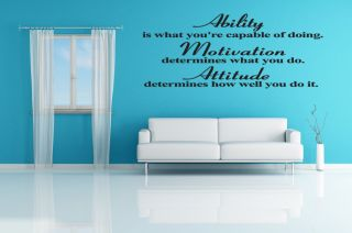 Attitude Ability Inspirational Vinyl Wall Quote Decal Sticker Art Home Decor 28""
