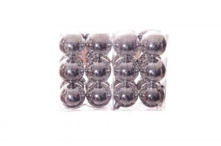 Christmas Tree Ornaments Round Plastic Silver 24 Pack Shiny Holiday Decor New