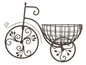 Bicycle Floral Wall Planter Decor Antiqued Metal Look Home Decor Wall New