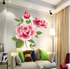 DIY Home Decor Wall Sticker Rose Flower Removable Bedroom Vinyl Decal Art ZCB