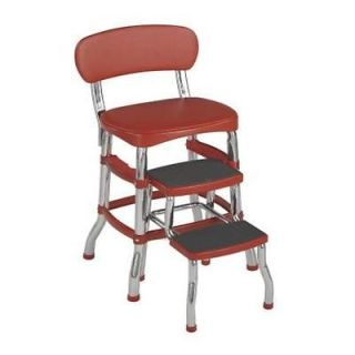 Cosco Retro Chair Step Stool Red Design Home Organization Accessories Tools New