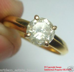1 01ct Solitaire Round Diamond Engagement 14k Gold Ring