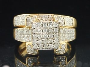 Ladies 14k Yellow Gold Diamond Engagement Ring Wedding Band Bridal Set 1 01 Ct