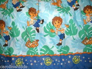 Go Diego Go Character Fabric Flat Twin Bed Sheet Craft Sewing Kids Bedding Dora