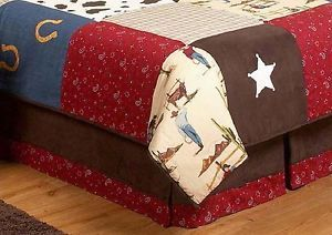 Sweet JoJo Designs Wild West Western Cow Boy Kids Queen Size Bedding Bed Skirt