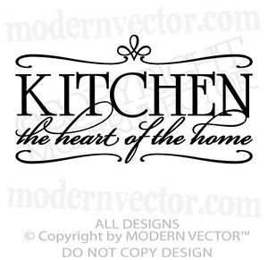 Kitchen Heart of The Home Quote Vinyl Wall Decal Kitchen Breakfast Nook Decor