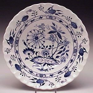 Saxony Round Vegetable Bowl Blue Onion Ironstone by Johnson Bros England