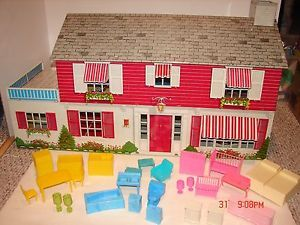 Large Vintage Marx Tin Metal Doll House Toy Many Furniture Pieces Kitchen Bath