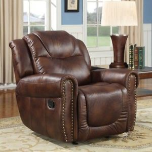 Western Faux Leather Rocking Chair Recliner Lazy Boy Living Room Furniture New