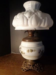 Antique Victorian Oil Lamp Duplex Double Burner Cherub Base Milk Glass Shade