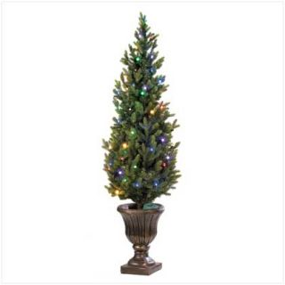 Indoor Outdoor LED Light Artificial Christmas Tree Holiday Decor in Planter New