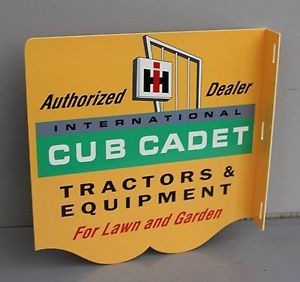 IH Cub Cadet Tractor Flange Sign for Lawn and Garden Farm Modern Retro