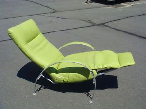 Lafer Billie Lime Green Modern Leather Recliner Chair