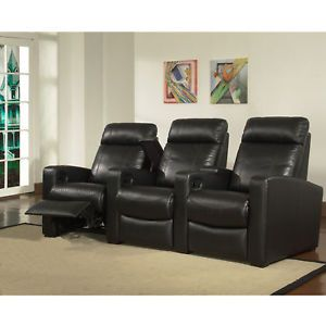 3 Pcs Genuine Leather Home Theater Seats Recliner Chairs