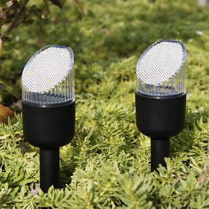 New 8 Pack Black Outdoor Bright White LED Solar Landscape Lights Yard Path Lamp