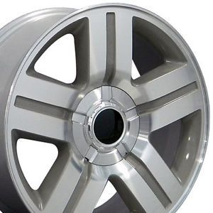"Set of 4 22"" Chevy Silverado Texas Replica Silver Alloy Wheels Rims 22x9"