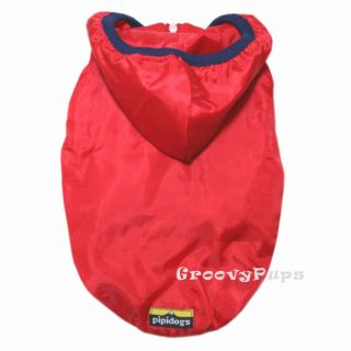 917 XS XL Red Hooded Windbreaker Coat Dog Clothes