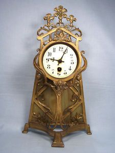 Stunning 19thC French Art Nouveau Gilded Bronze Marble Mantel Clock