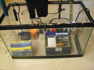 Tropical Fish Tank 10 Gallon Kit Aquarium Glass Heater Pump Filter Gravel Etc
