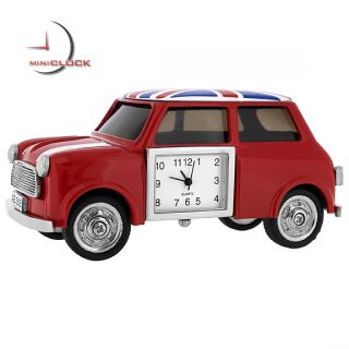 Miniature Clock Mini Cooper Car w Union Jack UK Flag