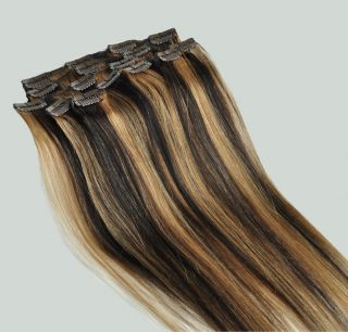 "16"" 70g Clip in Real Human Hair Extensions Black Blonde Mix 1B 27"