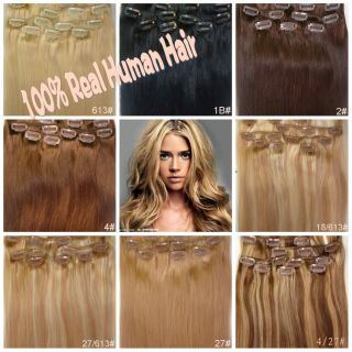 Full Head 20inch 22inch 8pcs Clip in Remy Real Human Hair Extensions 100grams UK
