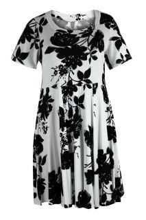 Ladies Plus Size White Black Floral Print Dress 1656