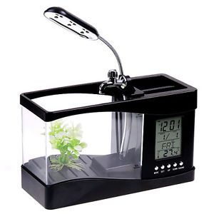 Mini USB Mini LCD Desktop Fish Tank Aquarium Timer Calendar Clock LED Lamp Light