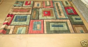 "Mohawk Home Modern Blocks Brown Beige Green Blue 5' x 6' 10"" Area Rug Lot 5840"