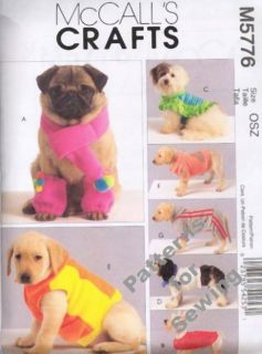 Pattern Sewing McCalls Pet Dog Cat Coat Scarf Hood Leg Warmers New