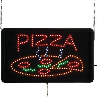 Illuminated Pizza Pie Multi Color LED Lit Hanging Window Sign Lighted Banner