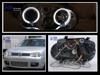 For 1999 2006 VW Golf GTI MK4 99 02 Cabrio Projector Headlights Chrome
