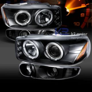 1999 2006 GMC Sierra Denali Halo Projector Headlights Parking Lamp Black