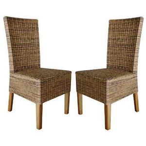 2 Set Rattan Living Wicker Dining Chairs Accent House Patio Office Furniture
