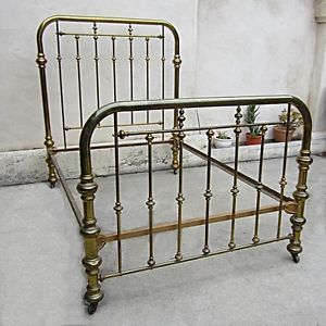 Vintage Brass Bed Two inch Tubing on Casters Size Full Interlocking Frame