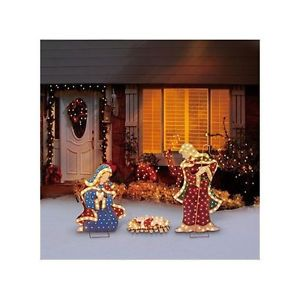 Nativity Set Christmas Scene Outdoor Lighted Decorations Holiday Painted Figures