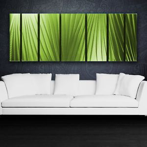 Modern Abstract Metal Wall Art Green Painting Sculpture Home Decor in Outdoor