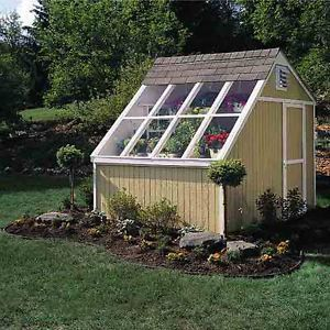 New Garden Shed Kit Large Windows Green House w Cedar Bench and Solar Shades